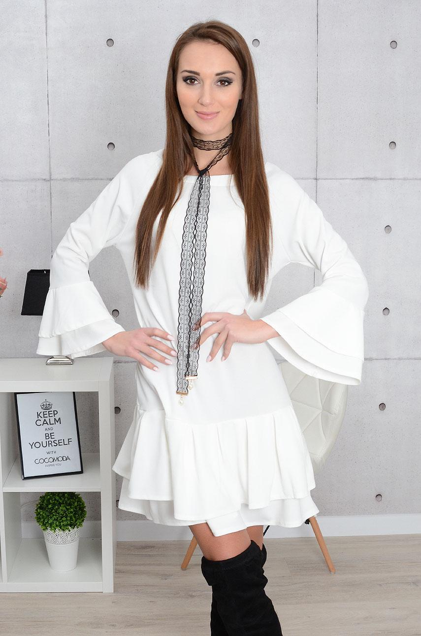 Sukienka Agnes z falbanami i chokerem kremowa Rozmiar: UNI