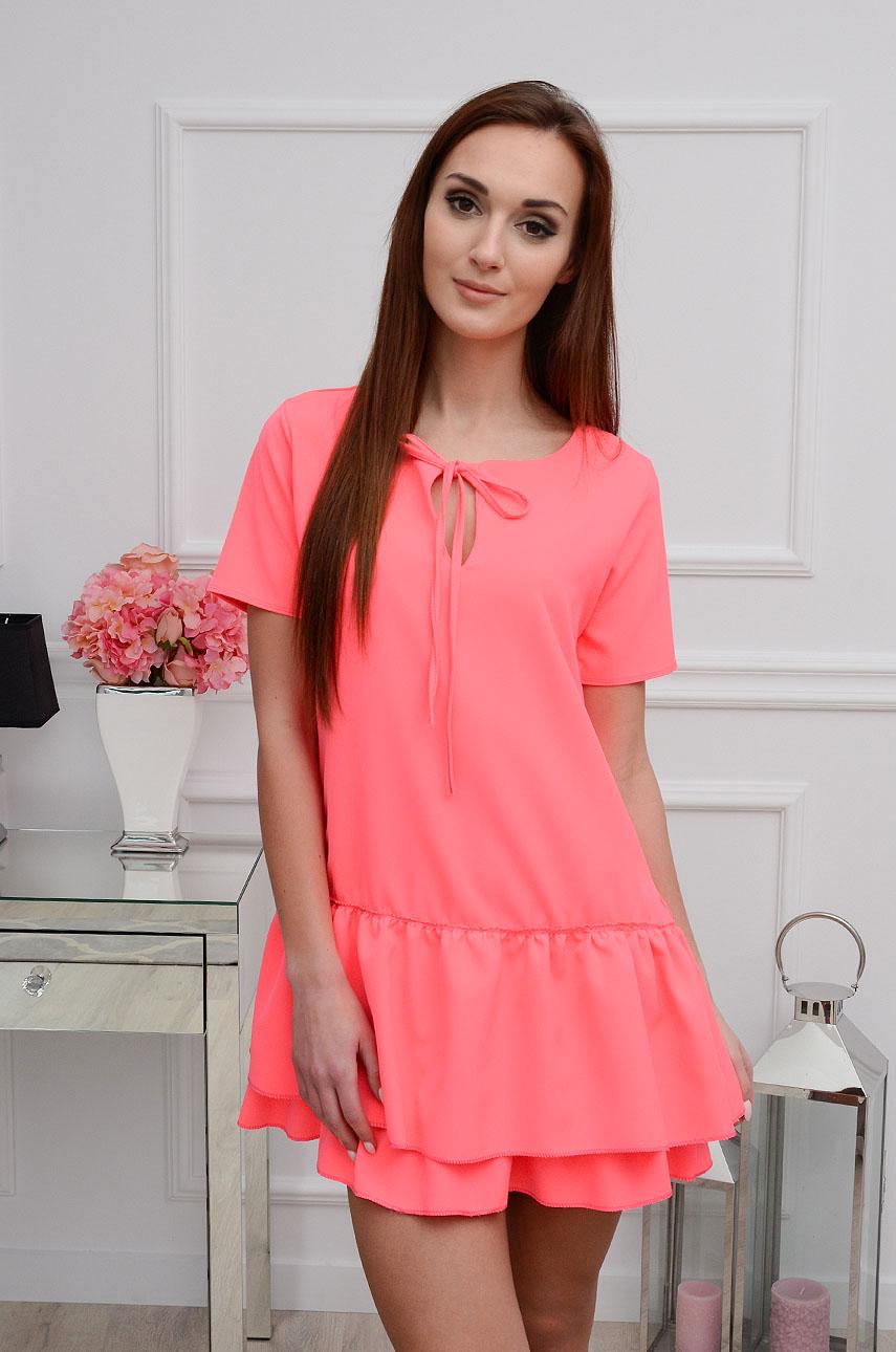 Sukienka Dalia z podwójną falbaną neonowy róż Rozmiar: UNI