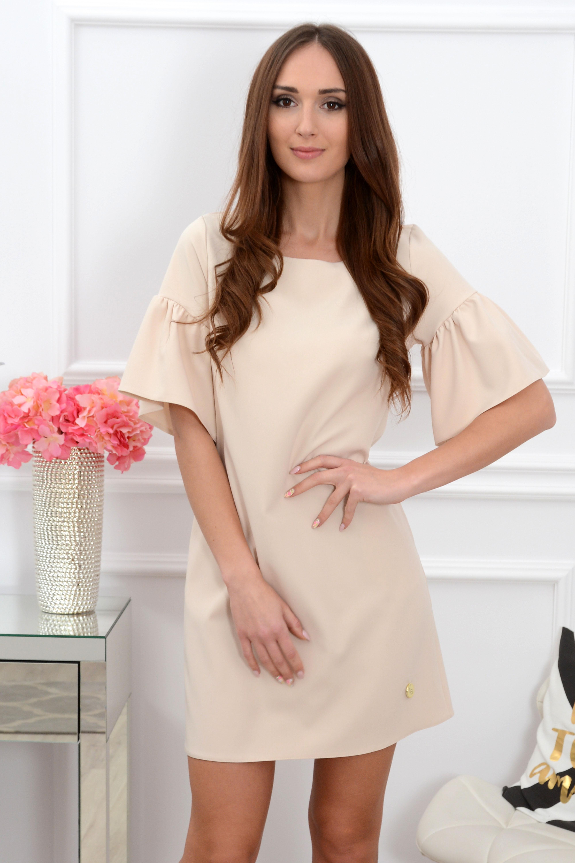 Sukienka Elia falbany na rękawach beżowa Rozmiar: S