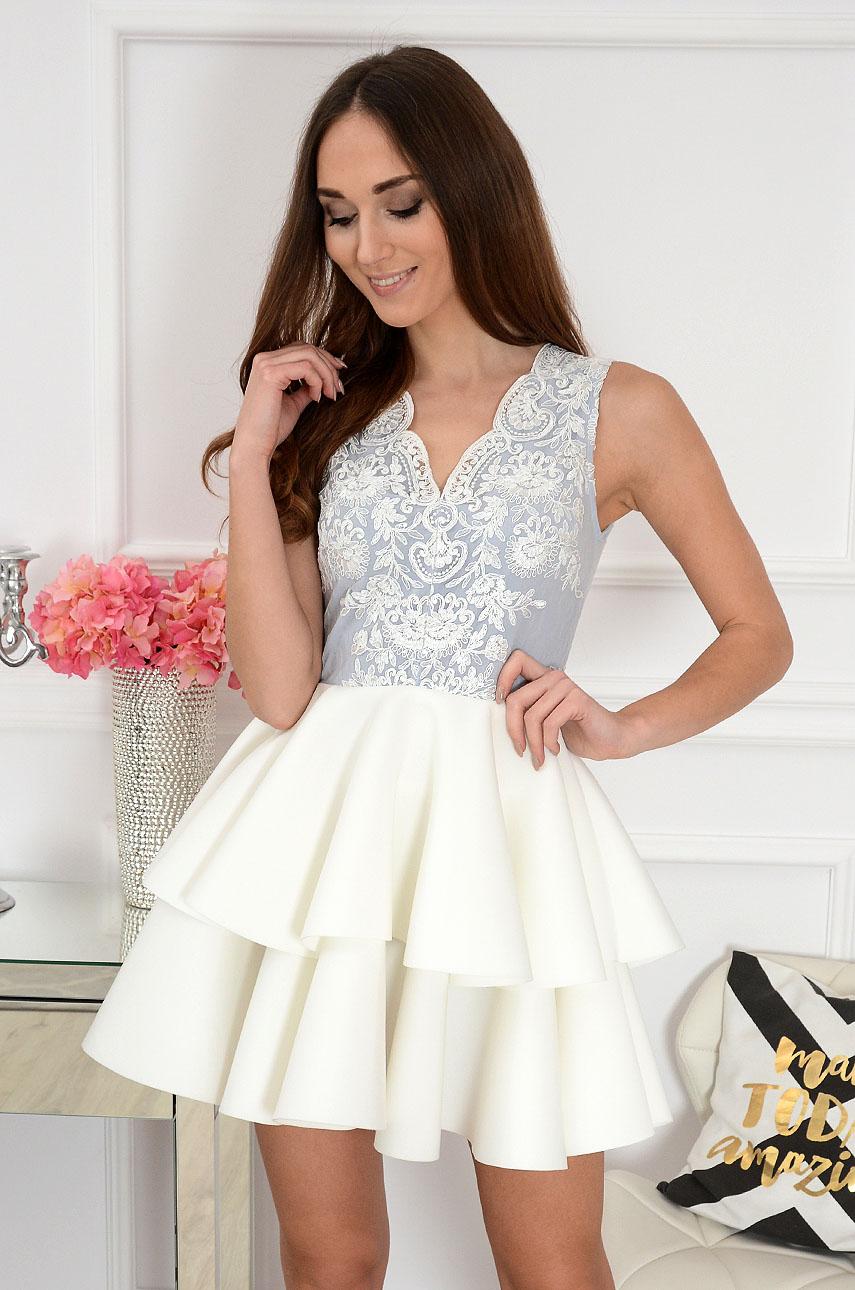 Sukienka Eliza z podwójną falbaną biało szara Rozmiar: S