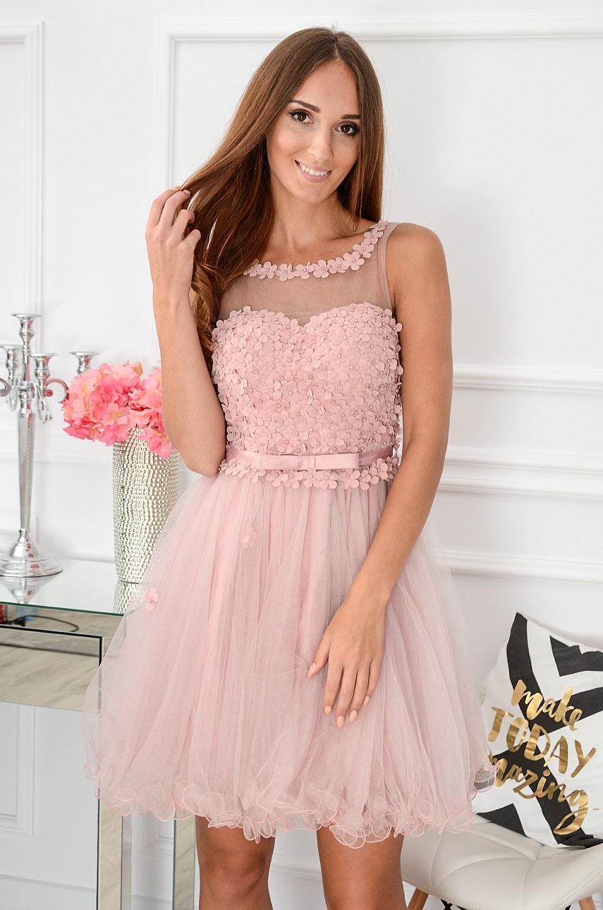 Sukienka Euforia kwiatuszki 3D brudny róż Rozmiar: S/M