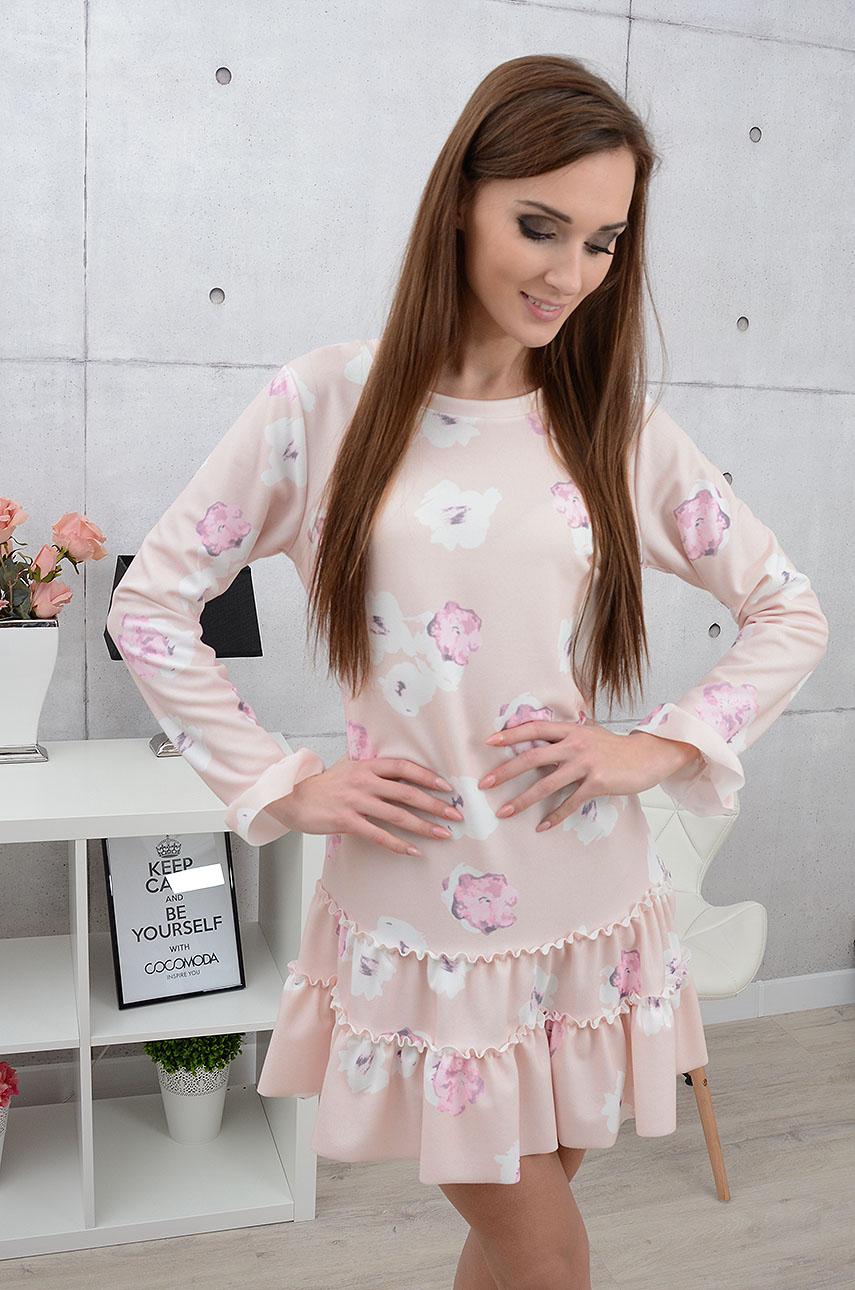 Sukienka Laluna z falbaną w kwiaty pudrowy róż Rozmiar: UNI