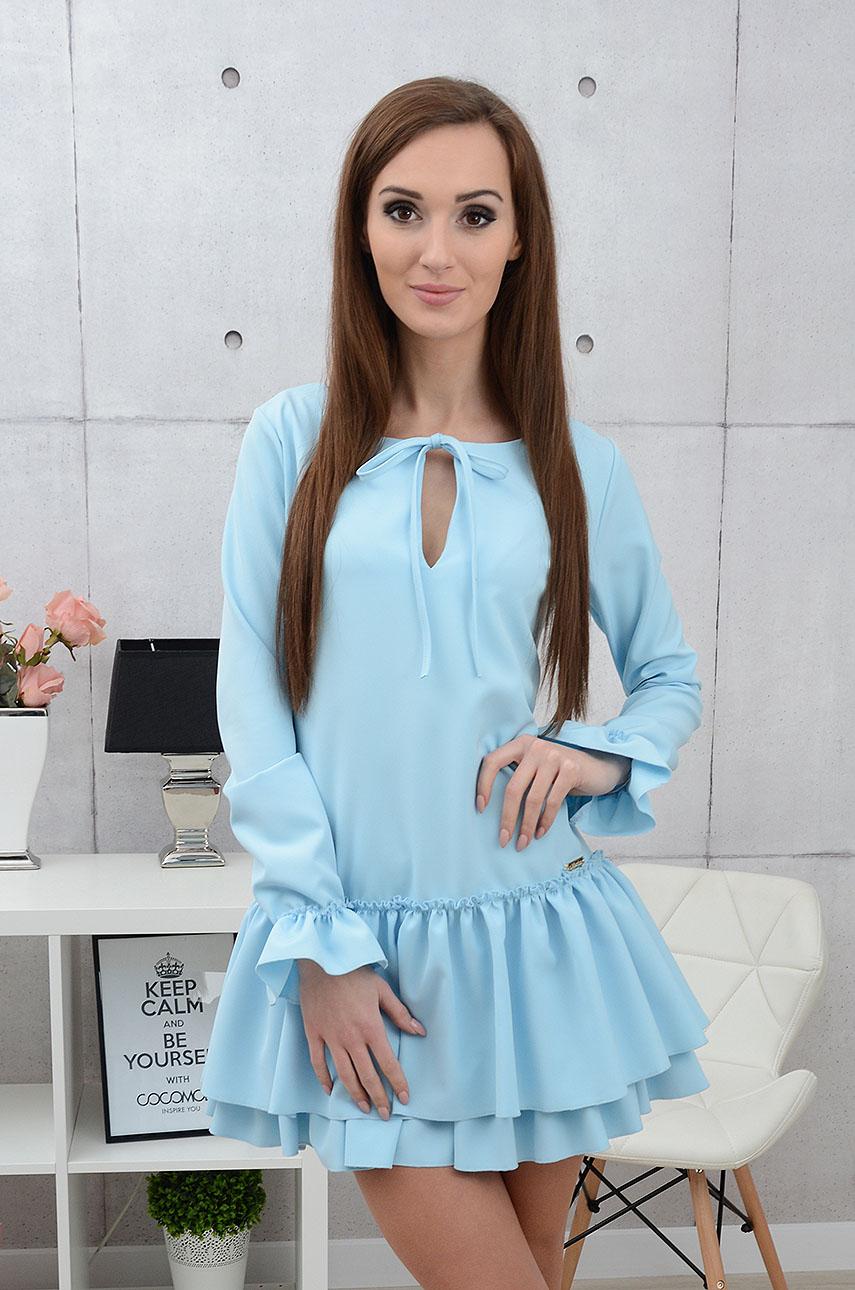 Sukienka Lilea z falbaną błękitna Rozmiar: XS