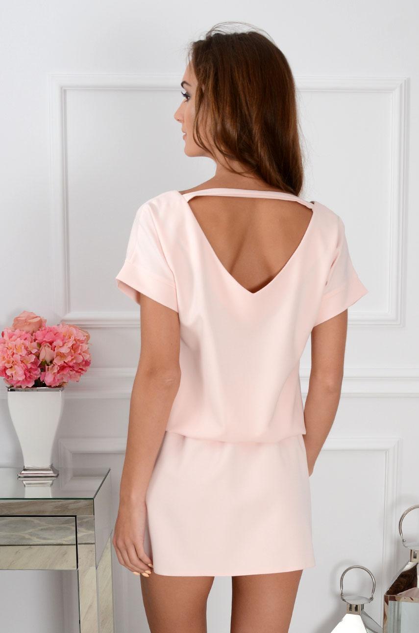 Sukienka Lora dekolt na plecach pudrowy róż Rozmiar: S