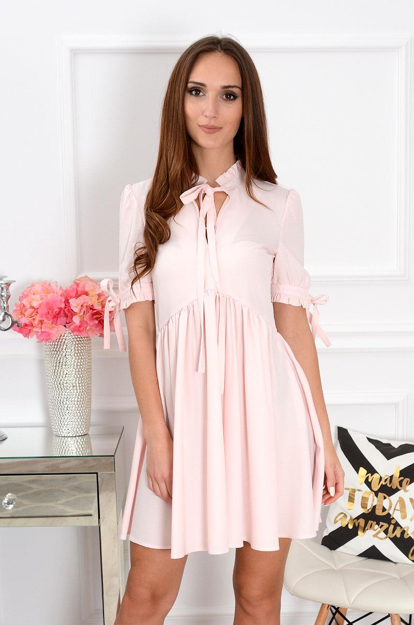 Sukienka Marsha krótki rękaw pudrowy róż Rozmiar: XL