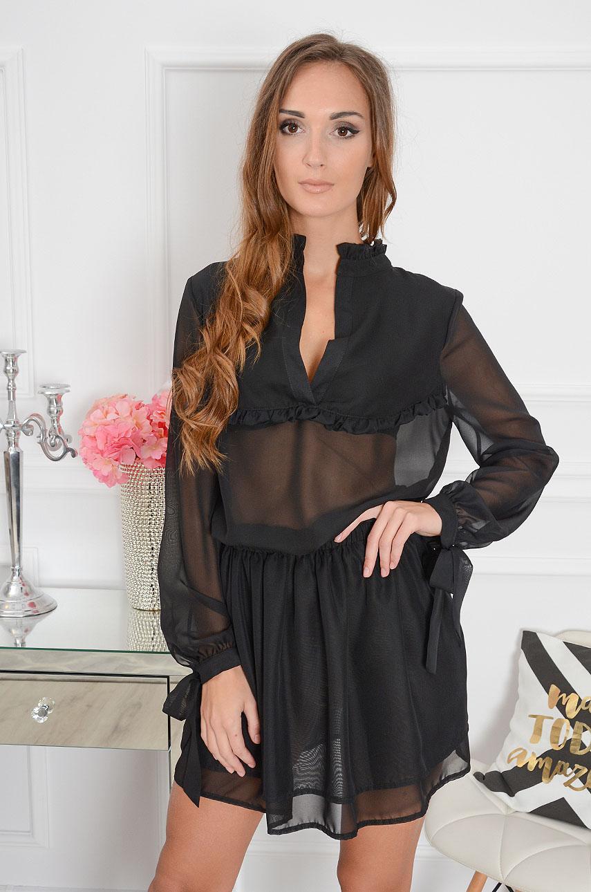 Sukienka Nanette szyfonowa czarna Rozmiar: S