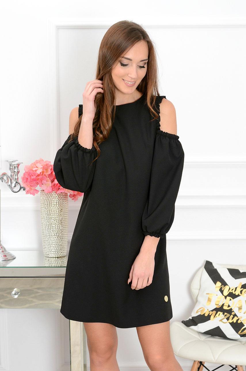 Sukienka Nastia gołe ramiona czarna Rozmiar: S