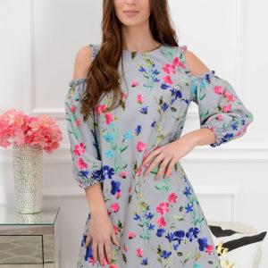 Sukienka Nastia w kwiaty szara Rozmiar: S