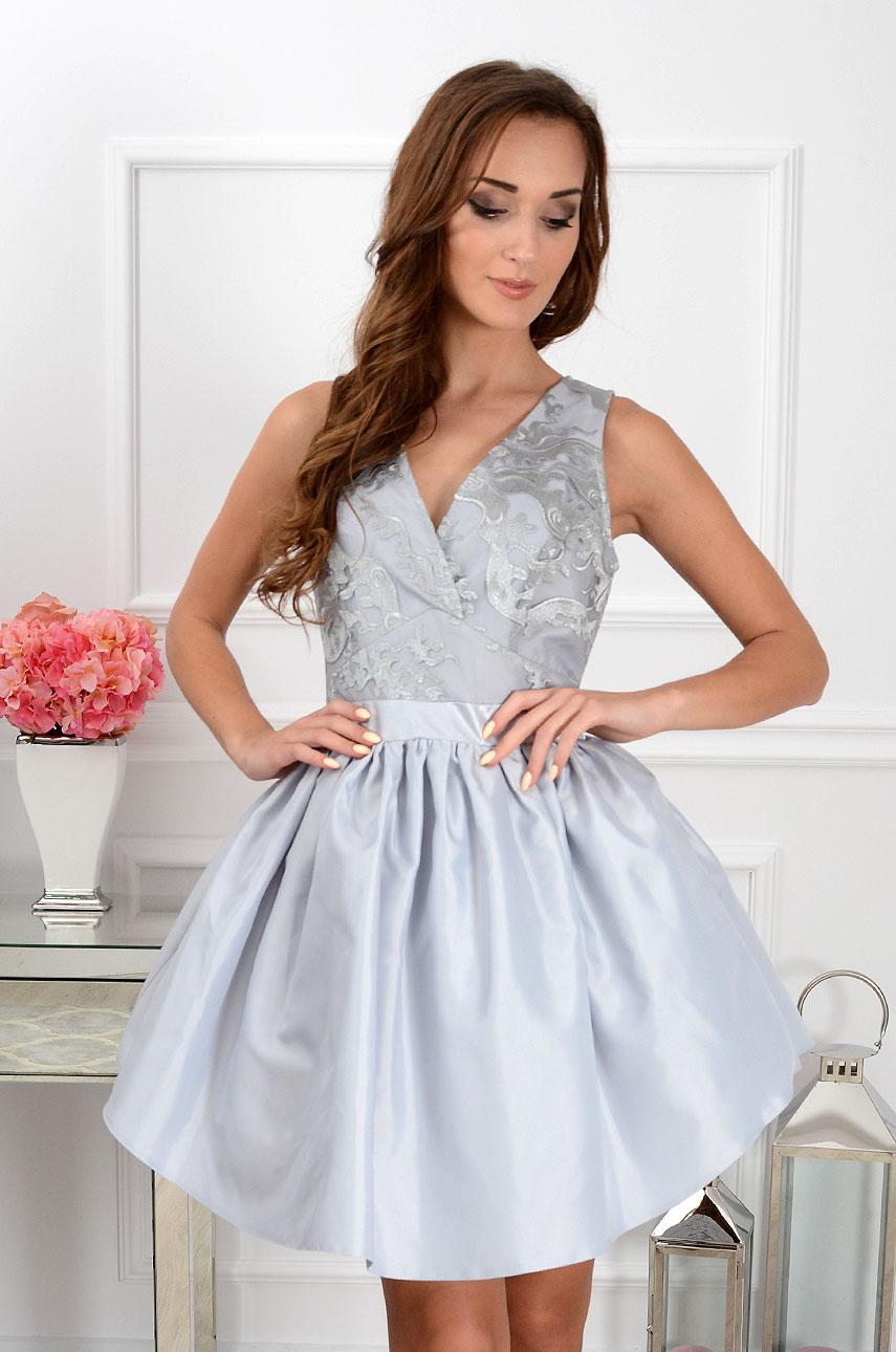Sukienka Princess rozkloszowana z tiulem szara Rozmiar: S