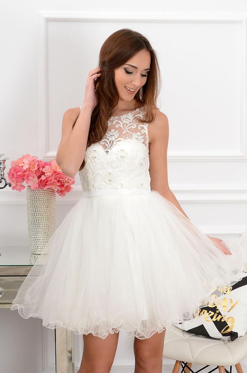 Sukienka Violetta z koronki i tiulu biała Rozmiar: S/M