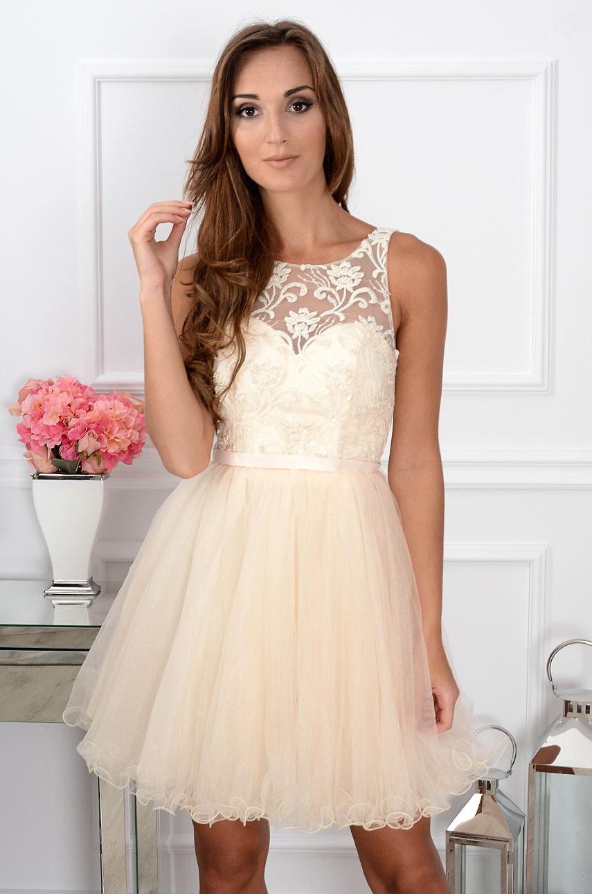 Sukienka Violetta z koronki i tiulu kremowa Rozmiar: M/L