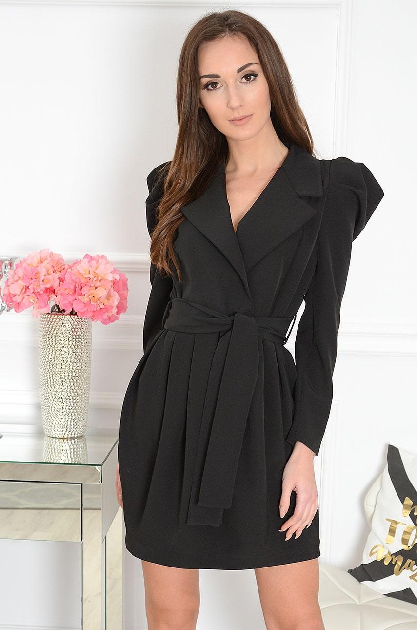 Sukienka a'la żakiet z bufkami czarna Reza Rozmiar: S