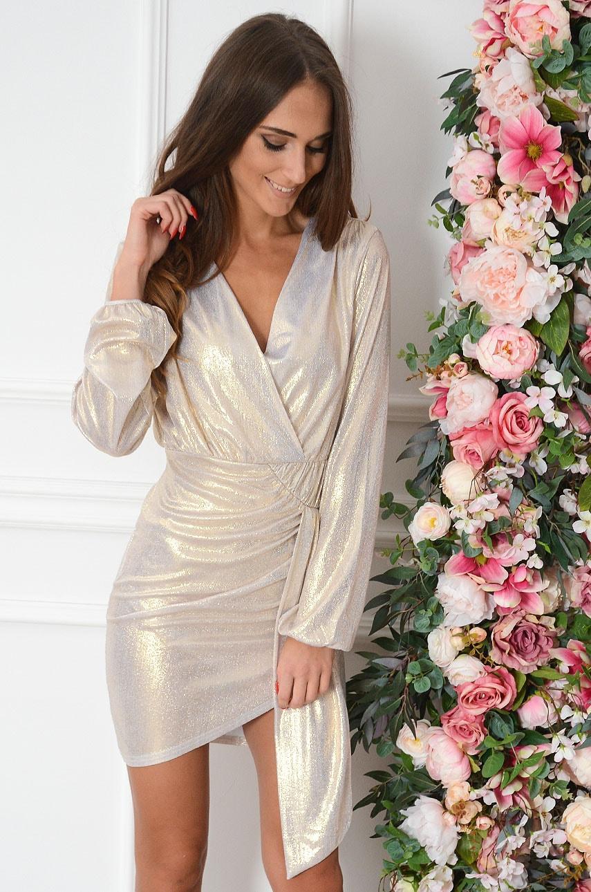 Sukienka błyszcząca marszczona z szarfą złota Luisant Rozmiar: S