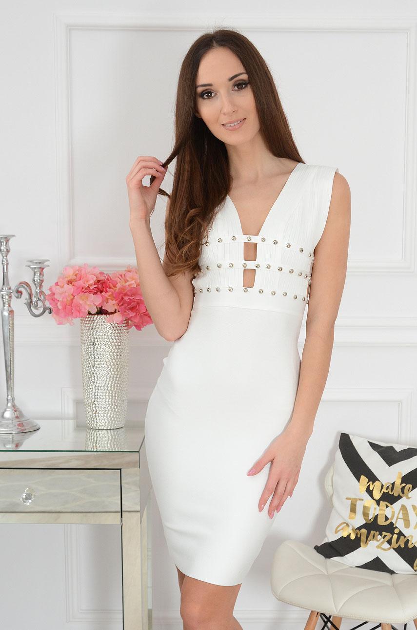 Sukienka bandażowa z ćwiekami biała Ariella Rozmiar: M