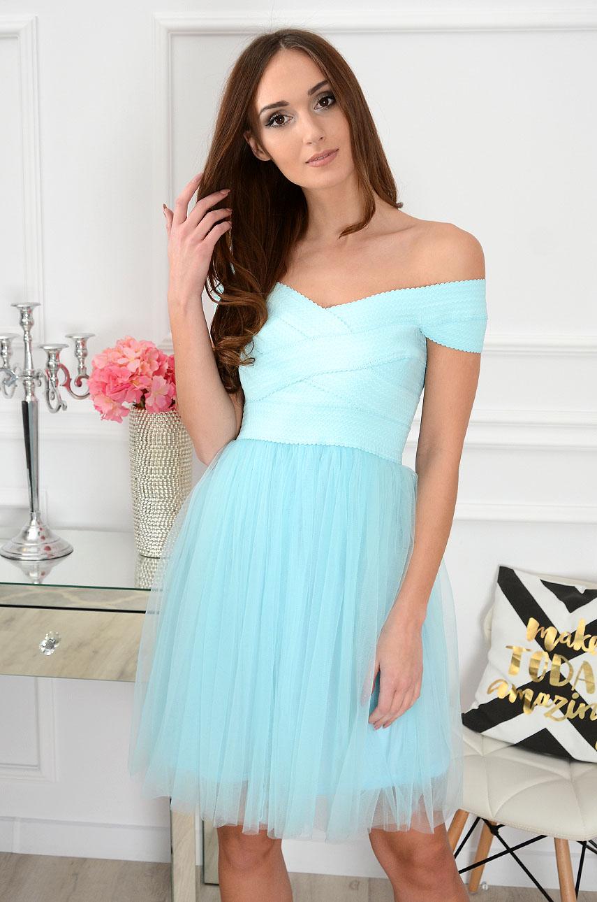 Sukienka bandażowa z tiulem błękitna Sarah Rozmiar: M