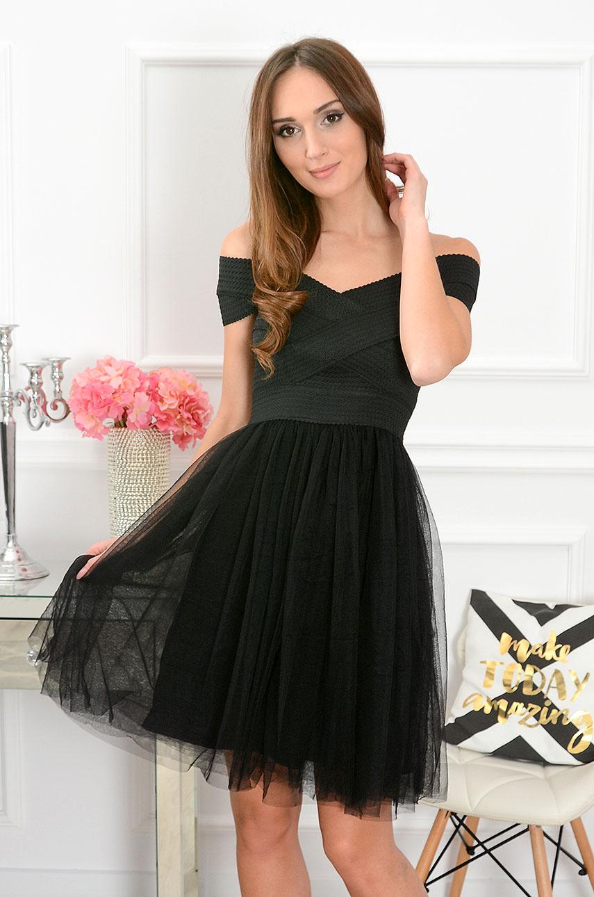 Sukienka bandażowa z tiulem czarna Sarah Rozmiar: S
