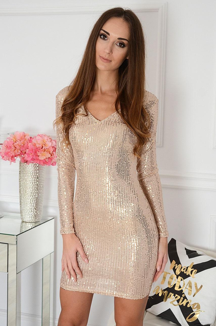 Sukienka cekinowa podwójny dekolt V różowe złoto Alissa Rozmiar: M/L