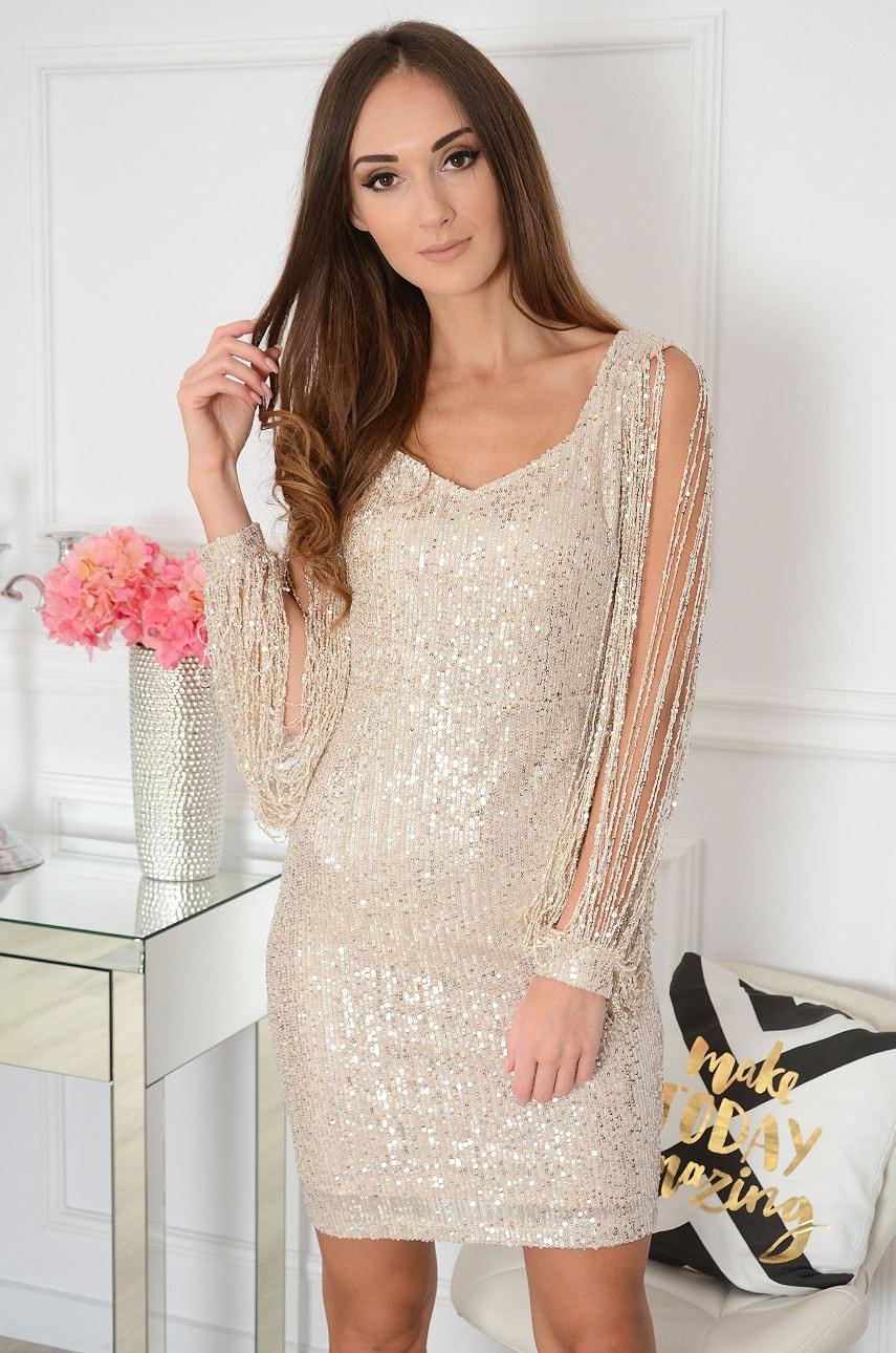 Sukienka cekinowa sznurkowe rękawy beż Brilante Rozmiar: S