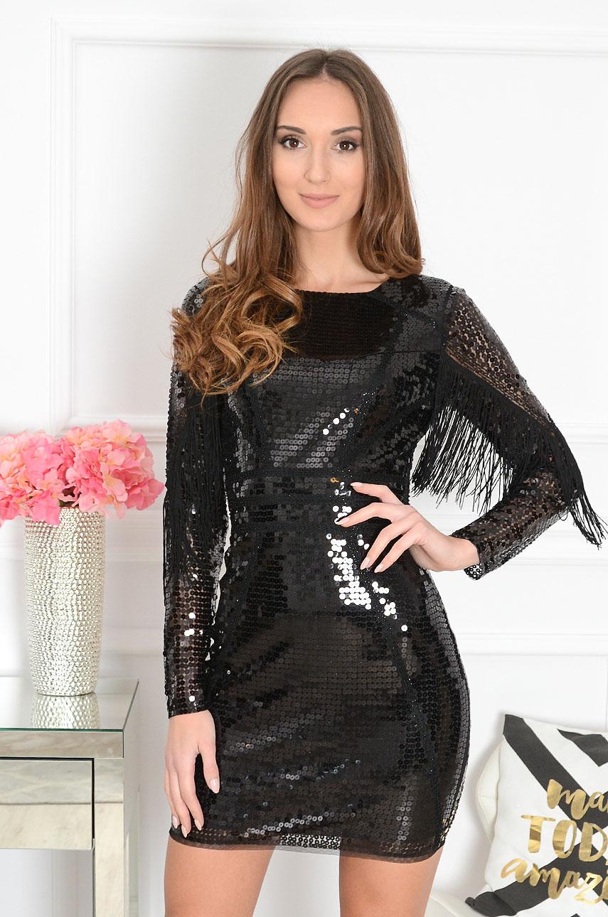 Sukienka cekinowa tuba z frędzlami czarna Anya Rozmiar: XL