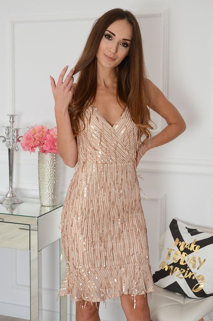 Sukienka cekinowa z frędzlami różowe złoto Caitrin Rozmiar: S
