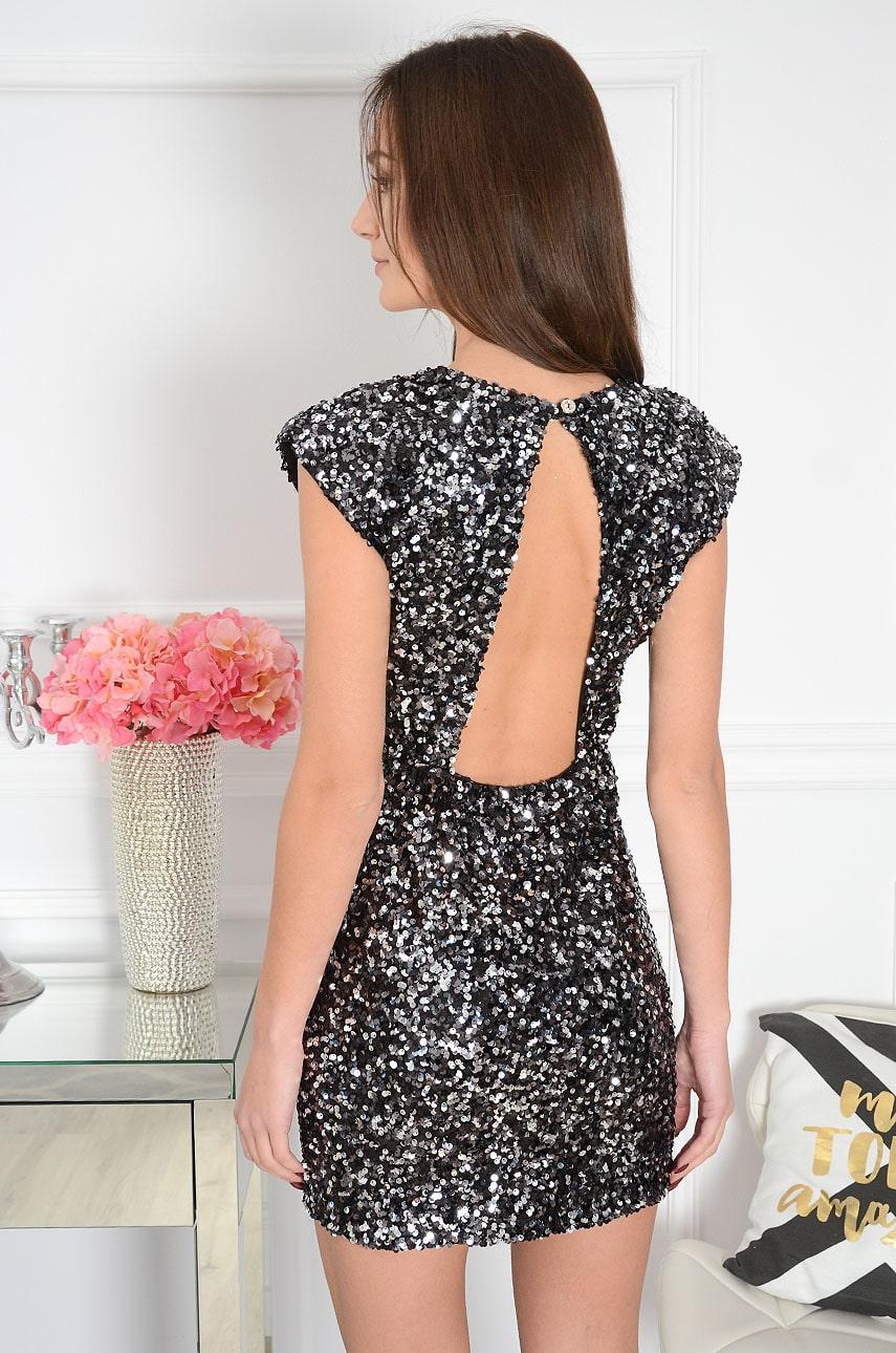 Sukienka cekinowa z wycięciem na plecach czarno-srebrna Larisa Rozmiar: UNI