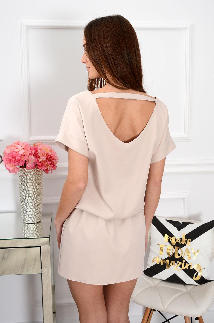 Sukienka dekolt na plecach beżowa Lora Rozmiar: S
