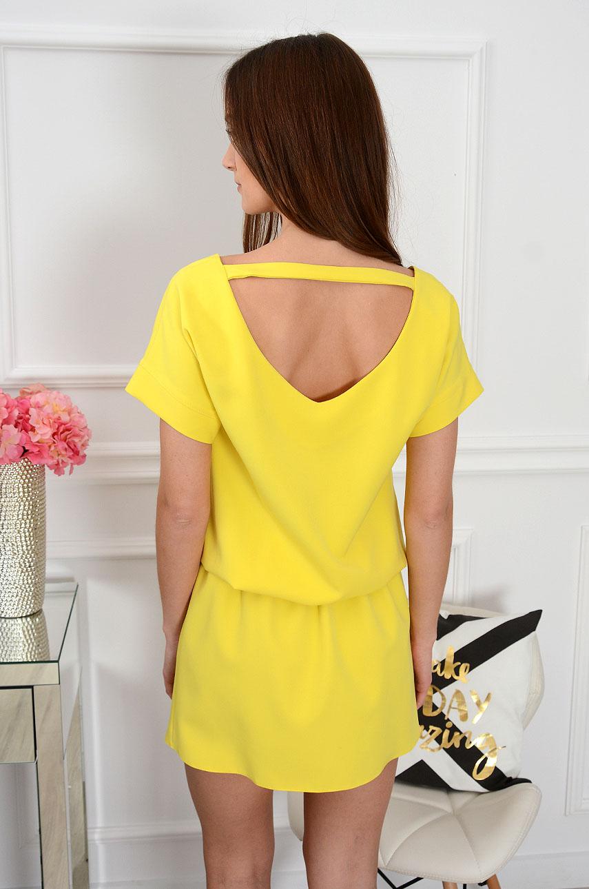 Sukienka dekolt na plecach cytrynowa Lora Rozmiar: S