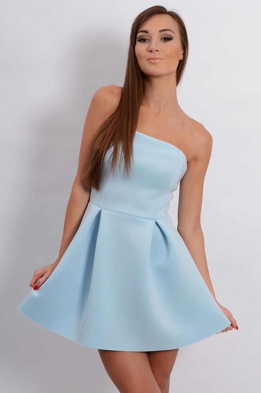 Sukienka gorsetowa z pianki błękitna Rozmiar: M