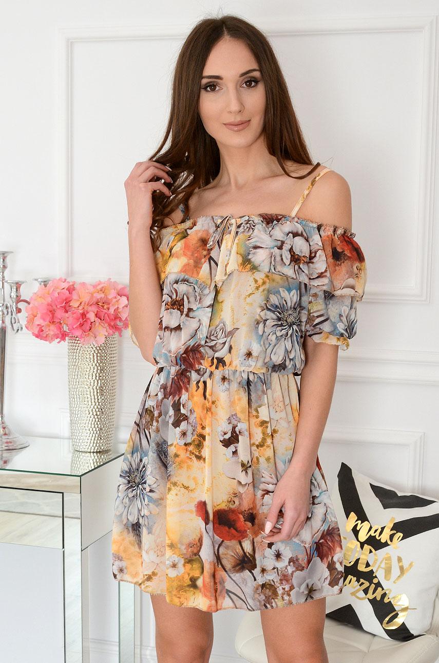 Sukienka hiszpanka w kwiaty multicolor Oksana Rozmiar: UNI