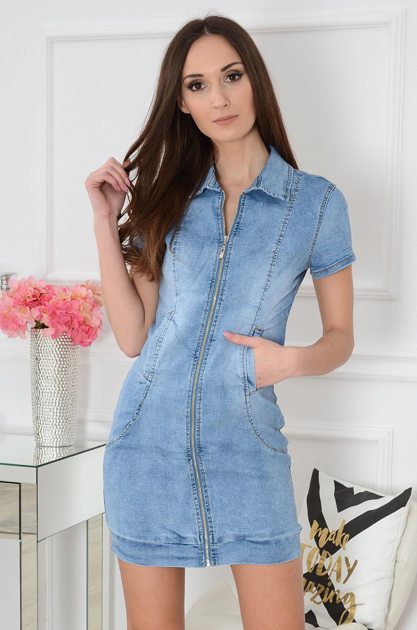 Sukienka jeansowa na zamek taliowana Rozmiar: XL