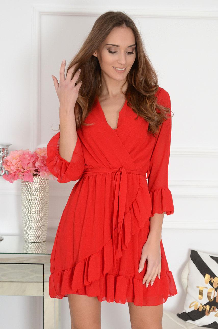 Sukienka kopertowa szyfonowa czerwona Danissa Rozmiar: UNI