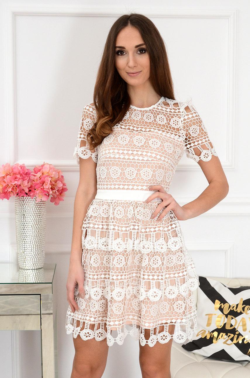 Sukienka koronkowa biało-beżowa Shaidi Rozmiar: S