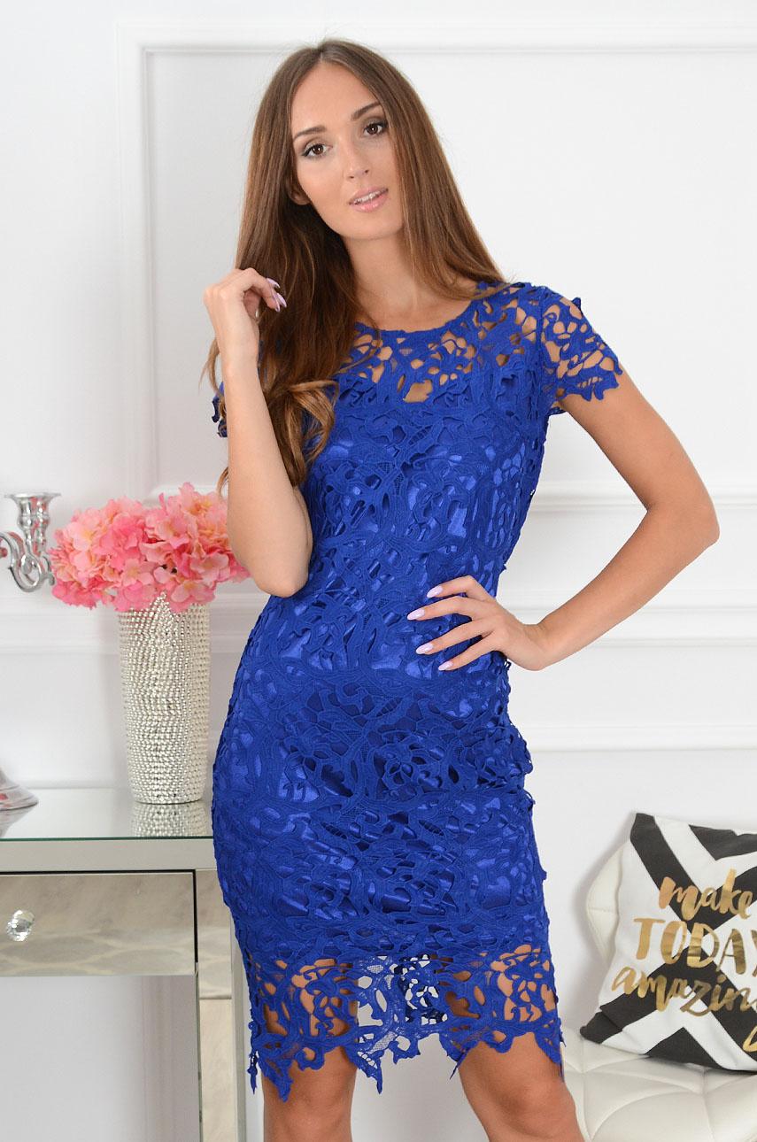 Sukienka koronkowa midi kobalt Sattin Rozmiar: S