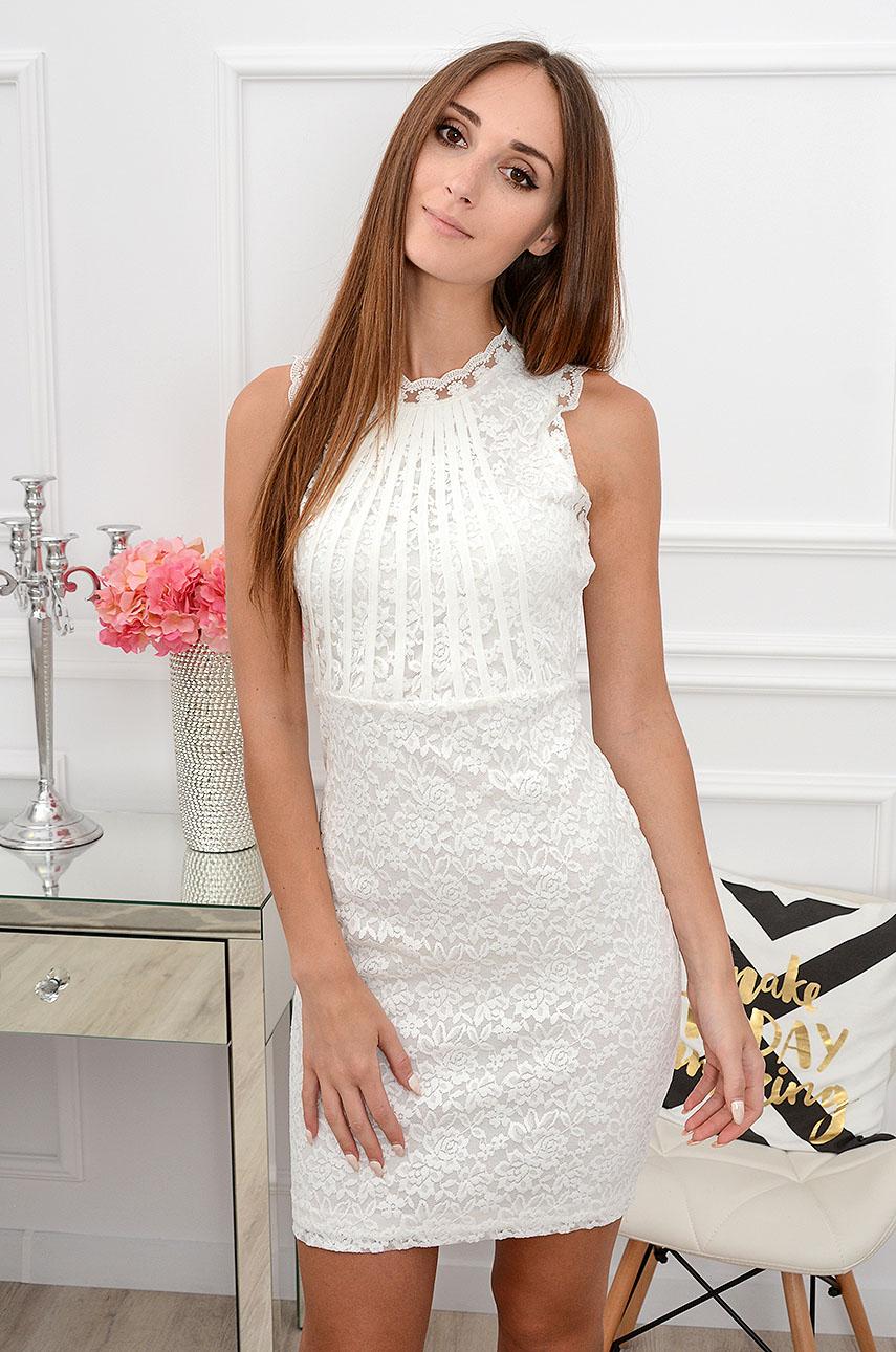 Sukienka koronkowa tuba Clea kremowa Rozmiar: M