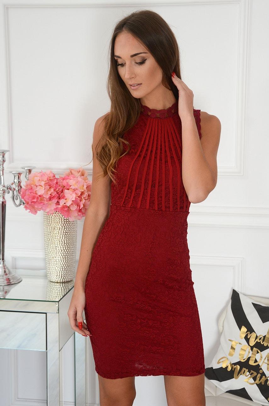 Sukienka koronkowa tuba burgund Clea Rozmiar: M