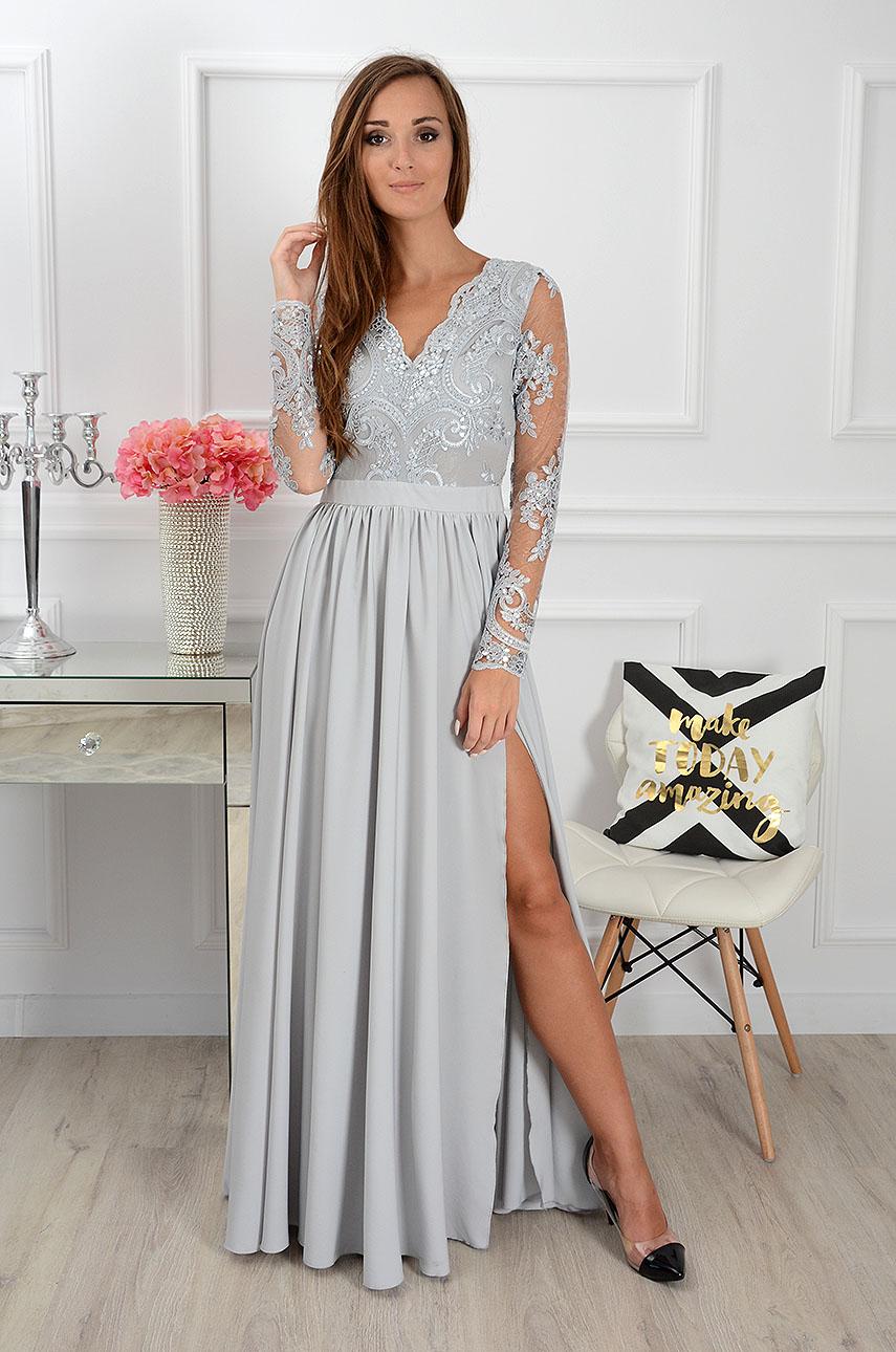 Sukienka maxi Athena długi rękaw szara Rozmiar: S