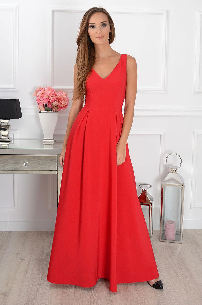 Sukienka maxi Gloria dekolt V czerwona Rozmiar: XS