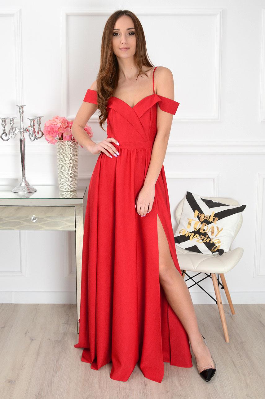 Sukienka maxi Marylin szeroki dekolt czerwona Rozmiar: S