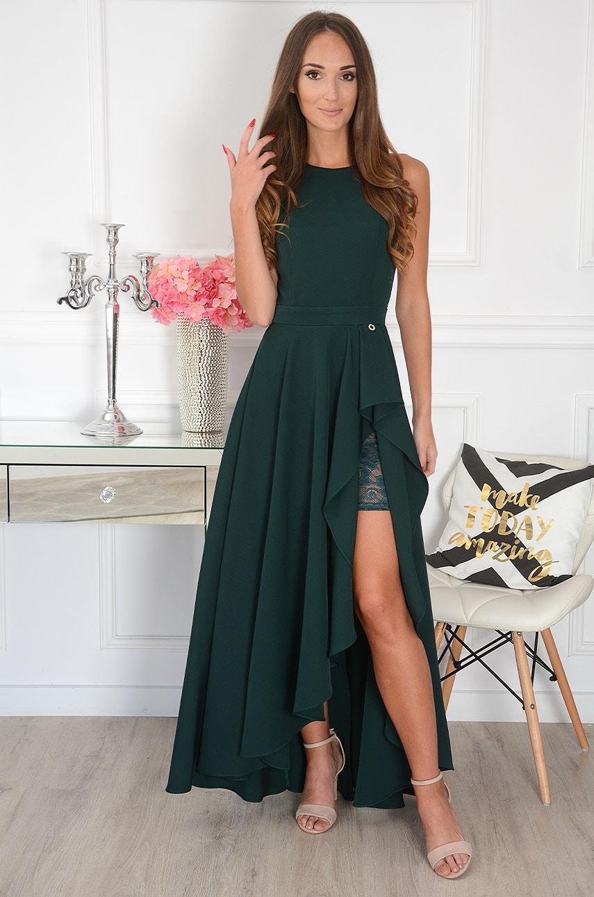 Sukienka maxi asymetryczna ciemna zieleń Esmeralda Rozmiar: S