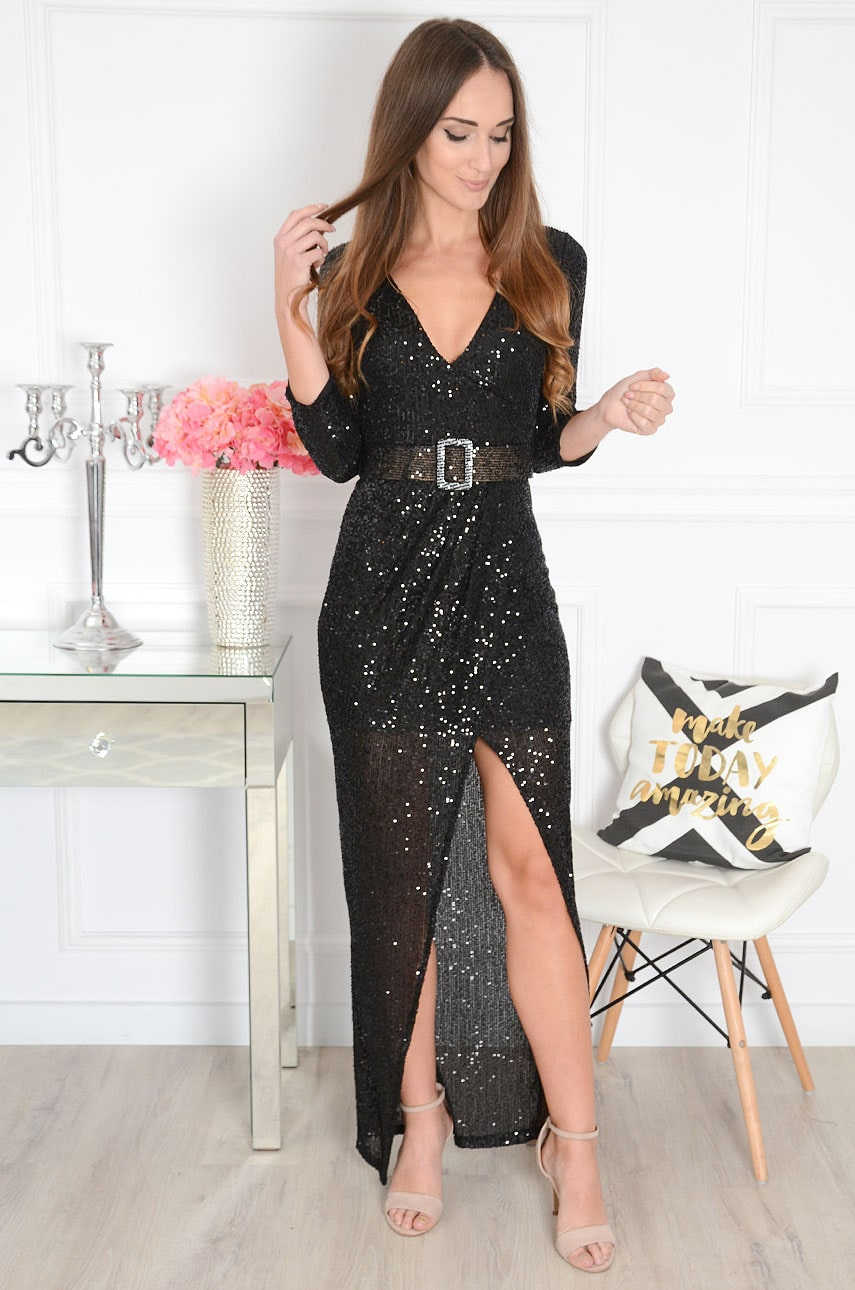 Sukienka maxi cekinowa kopertowa czarna Isobelle Rozmiar: UNI