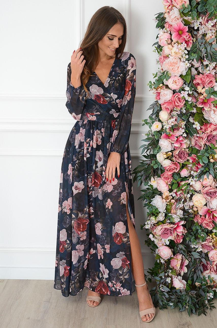 Sukienka maxi długi rękaw mix flowers granat Lukrecja Rozmiar: S