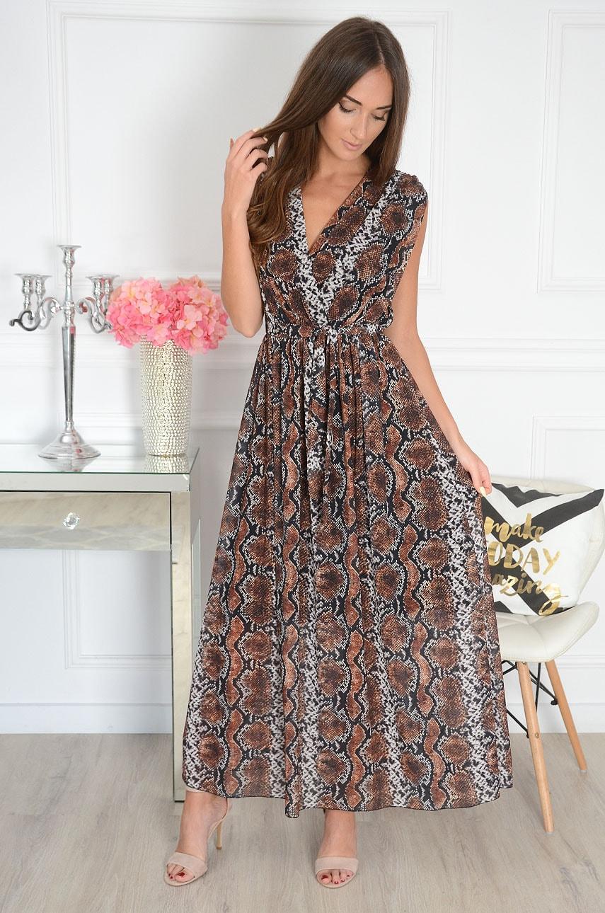 Sukienka maxi dekolt V wężowa Celesta Rozmiar: UNI