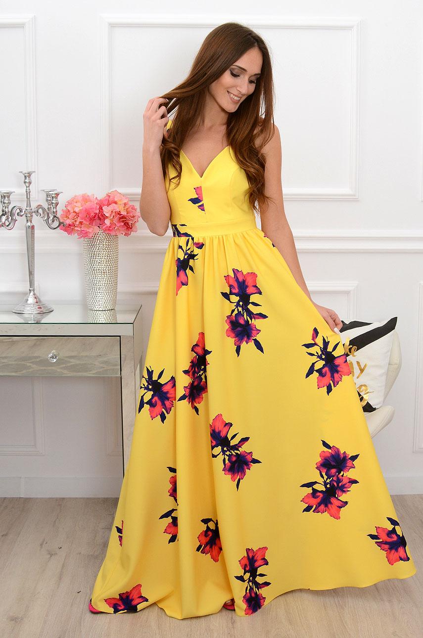 Sukienka maxi gołe plecy Tropicana cytrynowa Rozmiar: XS