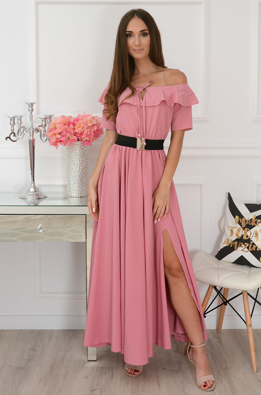 Sukienka maxi hiszpanka z falbaną i paskiem brudny róż Megra Rozmiar: L