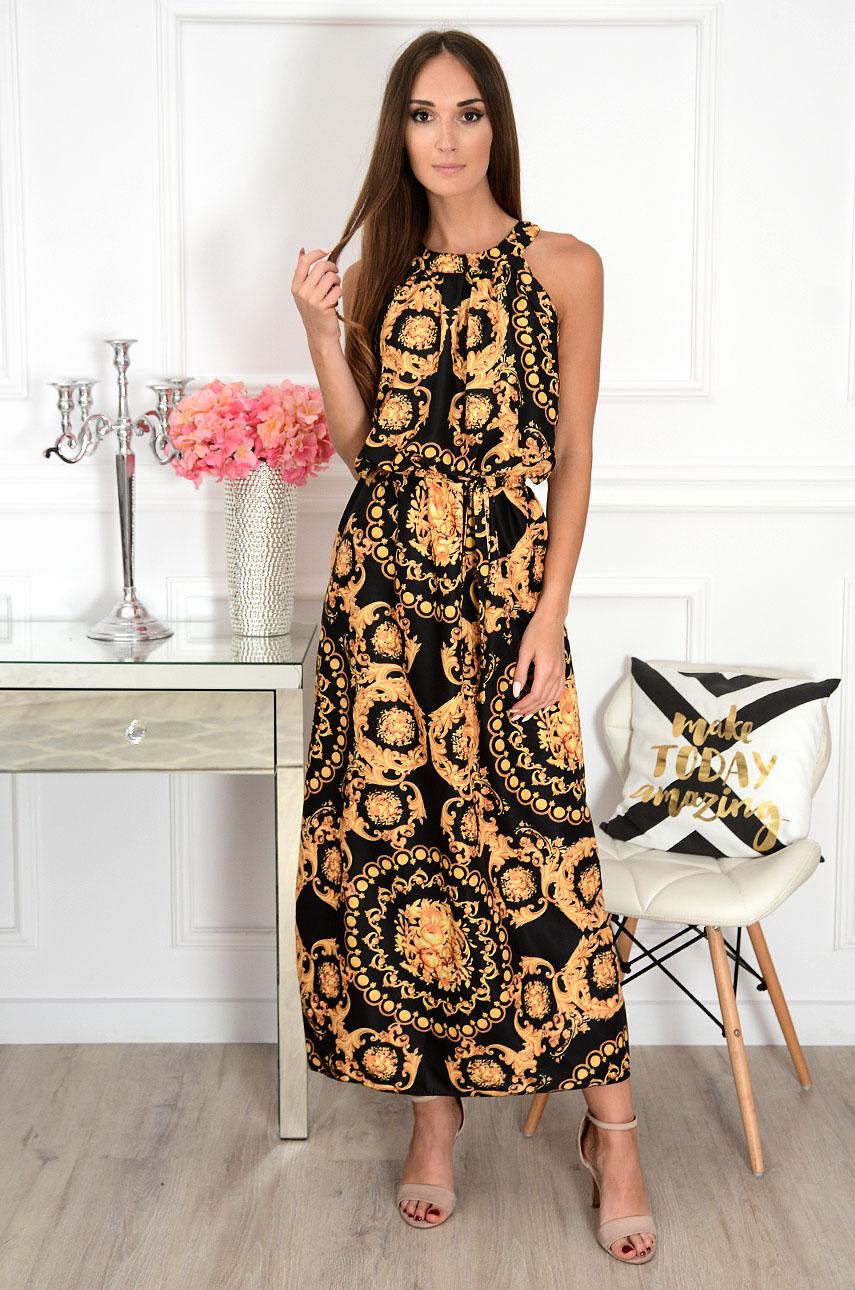 Sukienka maxi na szyję w ornamenty czarna Rozalia Rozmiar: UNI