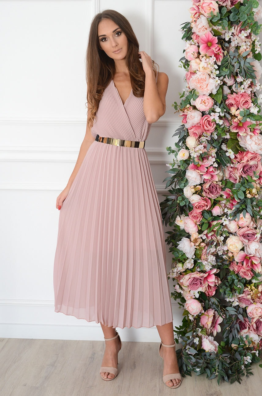 Sukienka maxi plisowana kopertowy dekolt pudrowy róż Aysel Rozmiar: UNI