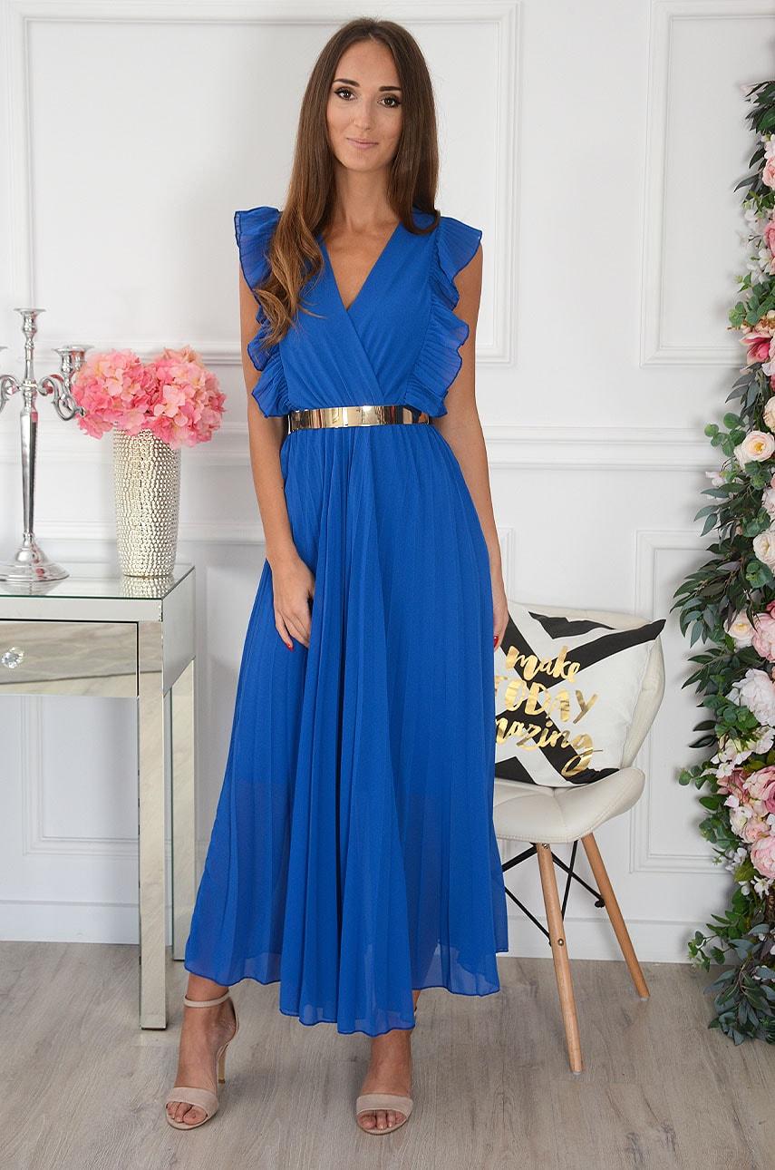 Sukienka maxi plisowana z falbankami kobalt Verda Rozmiar: UNI