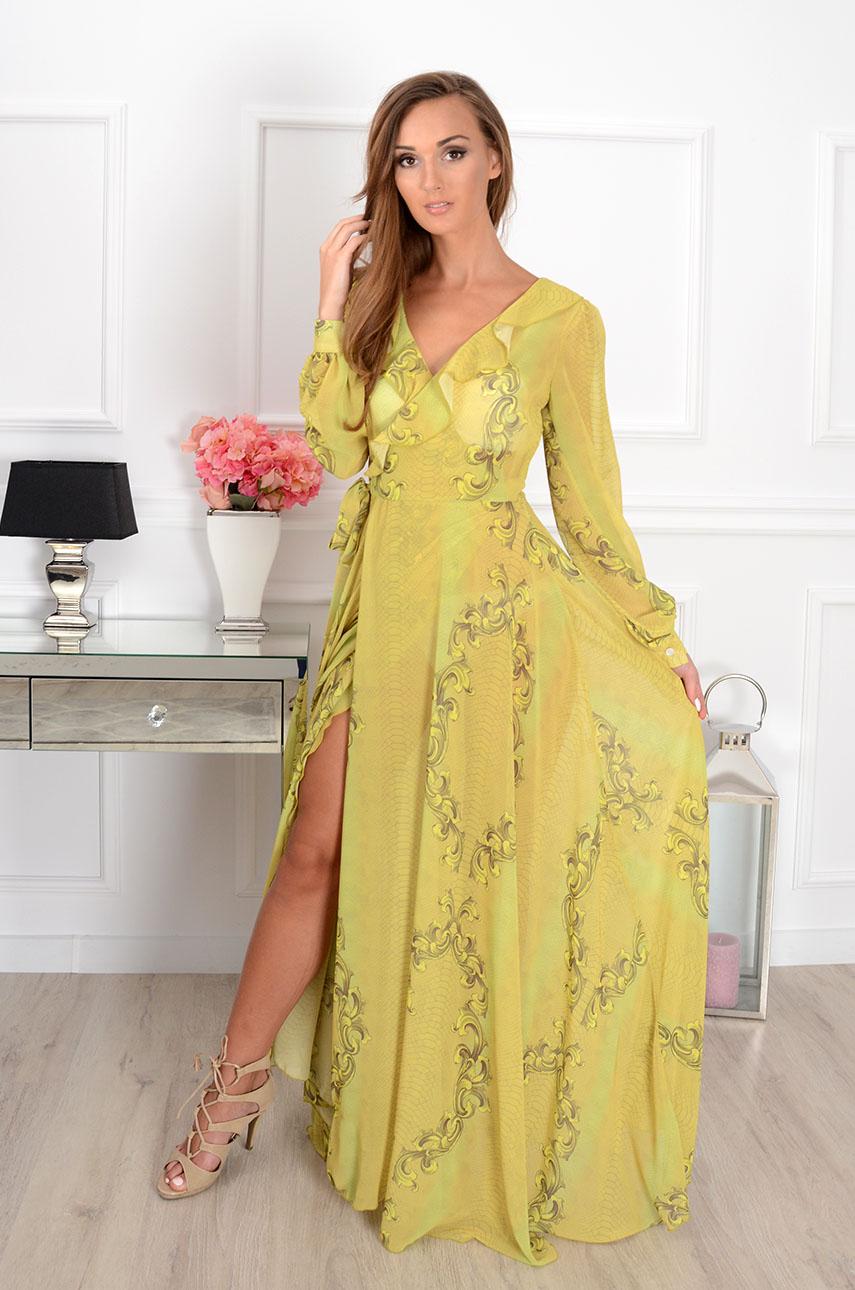 Sukienka maxi szyfonowa Tanzania wężowa limonka Rozmiar: UNI