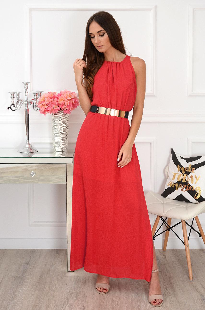 Sukienka maxi szyfonowa czerwona Leticia Rozmiar: S