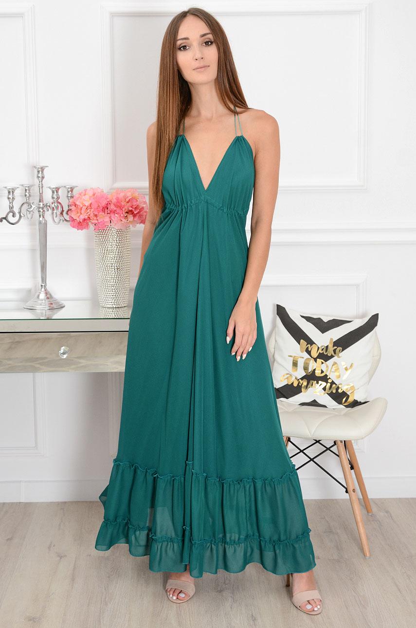 Sukienka maxi szyfonowa gołe plecy ciemno zielona Laura Rozmiar: UNI